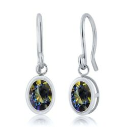 1.90 Ct Oval Blue Mystic Topaz 925 Sterling Silver French Wire Dangling Earrings