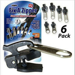 6Pcs Fix A Zipper Zip Slider Rescue Instant Repair Kit Replacement Black