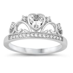 Sterling Silver 925 PRINCESS CROWN W HEART DESIGN PROMISE CZ RING 8MM SIZES5-12