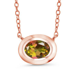 0.80 Ct Oval Mango Mystic Topaz 18K Rose Gold Plated Silver Pendant With Chain