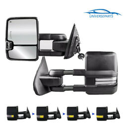 L+R Power Heated LED Signal Tow Mirrors For 14-18 Chevy GMC 1500 2500 HD Dynamic