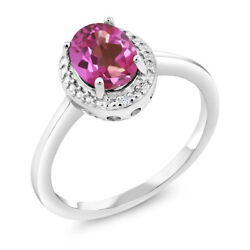 1.31 Ct Oval Pink Mystic Topaz White Diamond 925 Sterling Silver Ring