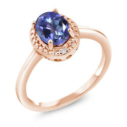 1.31 Ct Oval Blue Mystic Topaz White Diamond 18K Rose Gold Plated Silver Ring