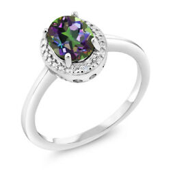 1.31 Ct Oval Green Mystic Topaz White Diamond 925 Sterling Silver Ring
