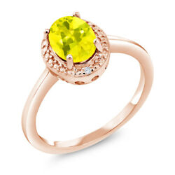 1.31 Ct Oval Canary Mystic Topaz White Diamond 18K Rose Gold Plated Silver Ring
