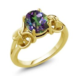 1.80 Ct Oval Green Mystic Topaz 18K Yellow Gold Plated Silver Ring