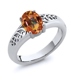 0.80 Ct Oval Ecstasy Mystic Topaz 925 Sterling Silver Ring
