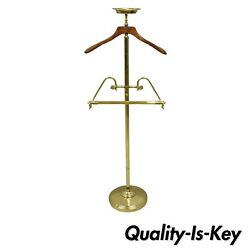 Vtg Italian Hollywood Regency Brass & Wooden Hanger Clothing Valet Butler Stand