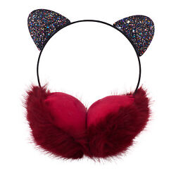 Lux Accessories Lovely Cat Ears Super Soft Glitter Black Winter Red Earmuffs