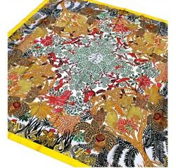 HERMES Scarf Carre 140 Silk Yellow Authentic Ladies Free Shipping NOS #1668