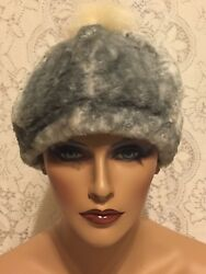 New 2 Tone Gray Pearl Winter Hat With Furry Pom Pom One Size Lining Polyester $13.95