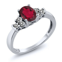 0.70 Ct Oval Red Mystic Topaz White Diamond 925 Sterling Silver Ring