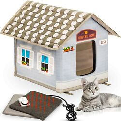 Petyella - Heated Cat House w Plug In Timer To Keep Your Cats Warm