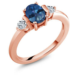 1.08 Ct Oval Blue Mystic Topaz White Topaz 18K Rose Gold Plated Silver Ring