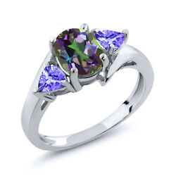 1.72 Ct Oval Green Mystic Topaz Blue Tanzanite 925 Sterling Silver Ring