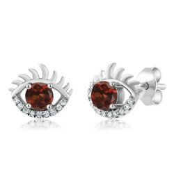 1.02 Ct Round Red Garnet and Zirconia 925 Sterling Silver Eye Earrings