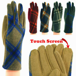 For Womens Tartan Check Plaid Soft Winter Outdoors Wool Gloves With Touch Screen $9.99