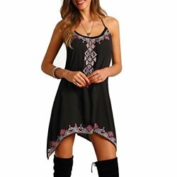 Women's Short Mini Dress Funic Boho Sleeveless Party Summer Beach Dress XX-Larg