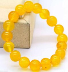 Handmade 681012mm Natural Yellow Topaz Round Beads Stretch Bracelet AAA