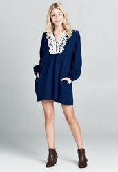 Blue Bohemian Dress Embroidered Tunic Free People Long Sleeves Boho Style S M L $40.00