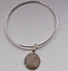 HAND MADE STERLING SILVER MOON DISC LUXURY 5mm BANGLE BOHO CHIC UNIQUE London HM