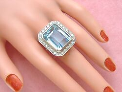 ESTATE ART DECO 45ct AQUAMARINE 1.43ctw DIAMOND PLATINUM STATEMENT COCKTAIL RING