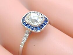 ART DECO .91ct OLD MINE CUSHION DIAMOND SOLITAIRE SAPPHIRE HALO ENGAGEMENT RING