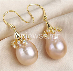 Natural Baroque Genuine pink Freshwater Pearl Drop Earrings For Women S925 Sterl