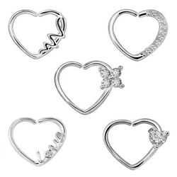 2pcs Heart CZ Nose Ring Piercing Hoop Earring Helix Cartilage Tragus Daith NEW $5.23
