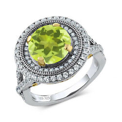 3.50 Ct Round Yellow Lemon Quartz 925 Sterling Silver Ring