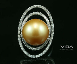 14K Gold Perfect 14.2MM Southsea Pearl Diamond Ring & Pendant 2 Use
