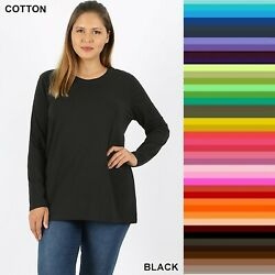 Plus Size Zenana Crew Neck TShirt Long Sleeve Cotton Spandex Top XL 1X 2X 3X $12.95