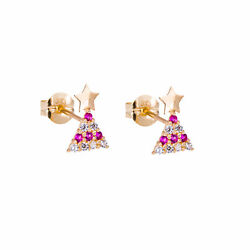 9ct Gold Clear Ruby Red CZ Christmas Tree Stud Earrings