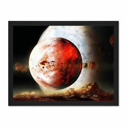 Space Planets SciFi Illustration Large Framed Art Print Poster 18x24 Inches