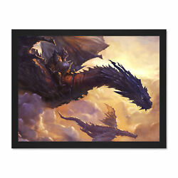 Fantasy Dragon Illustration Wings Large Framed Art Print Poster 18x24 Inches