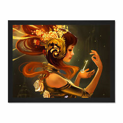 Illustration Fantasy Woman Gold Key Large Framed Art Print Poster 18x24 Inches