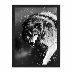 Illustration Animal Wolf Snow Winter Large Framed Art Print Poster 18x24 Inches