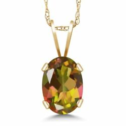 0.80 Ct Oval Mango Mystic Topaz 14K Yellow Gold Pendant With Chain