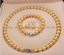 10mm Gold South Sea Shell Pearl Necklace Bracelet Earring Set 18