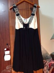 Yoana Baraschi 100% silk black And Milk  beaded dress NWT. Size L