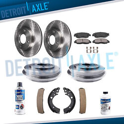 2001-2004 2005 Honda Civic Front Brake Rotors & Ceramic Pads + Rear Drums & Shoe $122.84