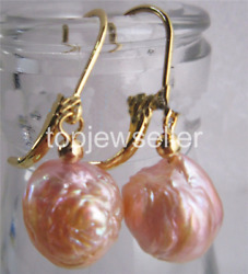 baroque 12-13MM AAA south sea pink pearl earrings 14K solid GOLD