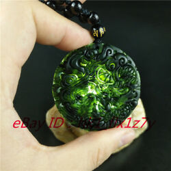 Lucky Natural Black Green Jade Dragon Phoenix Pendant Necklace Jewelry Amulet $4.98