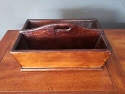 Antique Wood Organizer Caddy Decorative Storage Crate Wooden Tray Basket Handle
