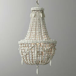 Farmhouse Antique White Chandelier Wood Beaded Basket Hanging Pendant Lighting $347.99