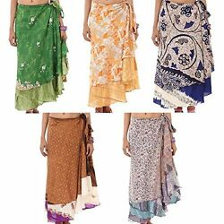 Indian Wrap Around Skirt Wholesale 5 Ps Printed Reversible Two Layer $45.00
