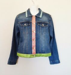 Womens Blue Denim Jacket Sz M Stretch Embellished Bling Buttons by Too She She