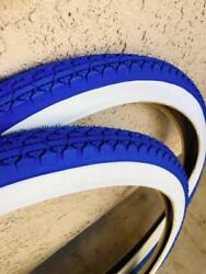 Two BLUE White Wall Beach Cruiser 26x2.125 Bicycle Tires Slick Diamond 26quot; $400.00