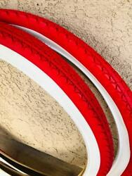 Two RED White Wall Beach Cruiser 26x2.125 Bicycle Tires Slick Diamond 26quot; $300.00