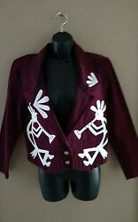 SHE denim burgundy jacket NWT. White leather kokopelli design. size small ($246)